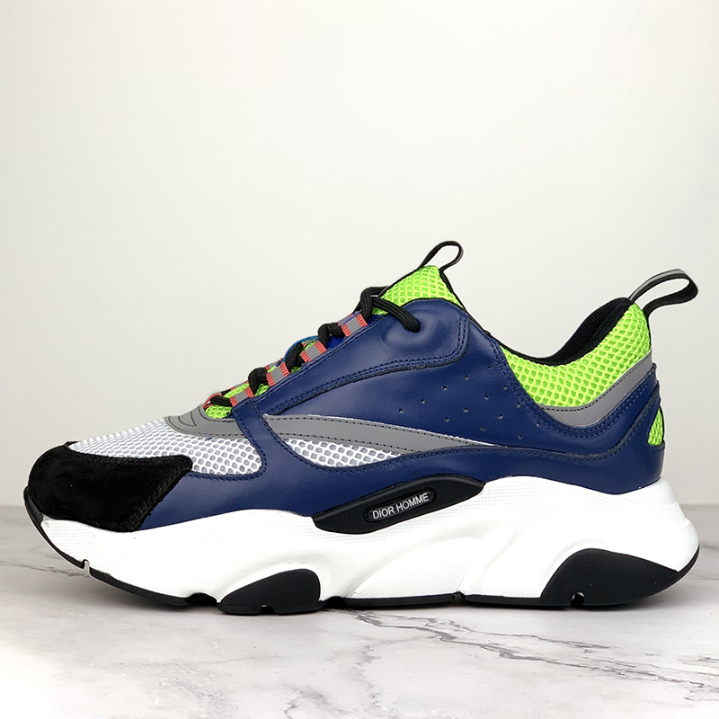 "Dior ""B22"" Sneaker in Yellow Technical Knit And Blue Calfskin - FashionBeast"