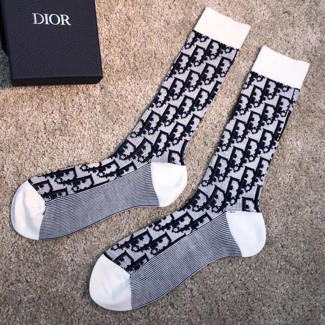 Dior Technical Wool Socks with Dior Oblique Motif - FashionBeast
