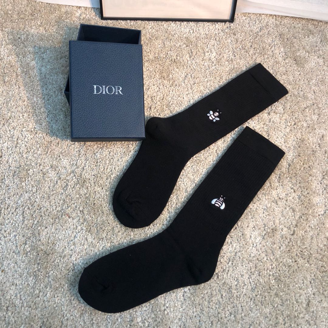 Dior Black Cotton Socks with DIOR x KAWS Bee - FashionBeast