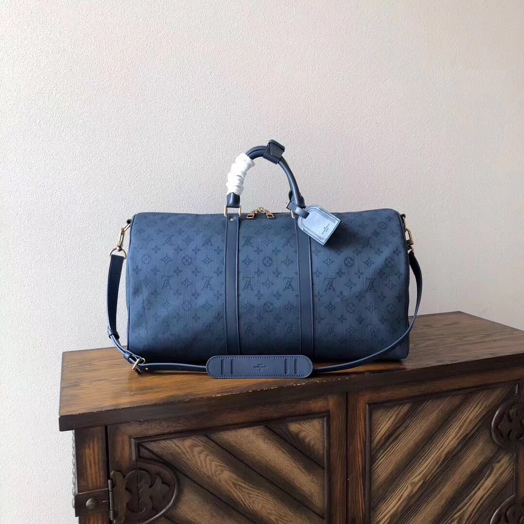 Louis Vuitton Keepall Bandouliere 50 Luggage in Navy - FashionBeast