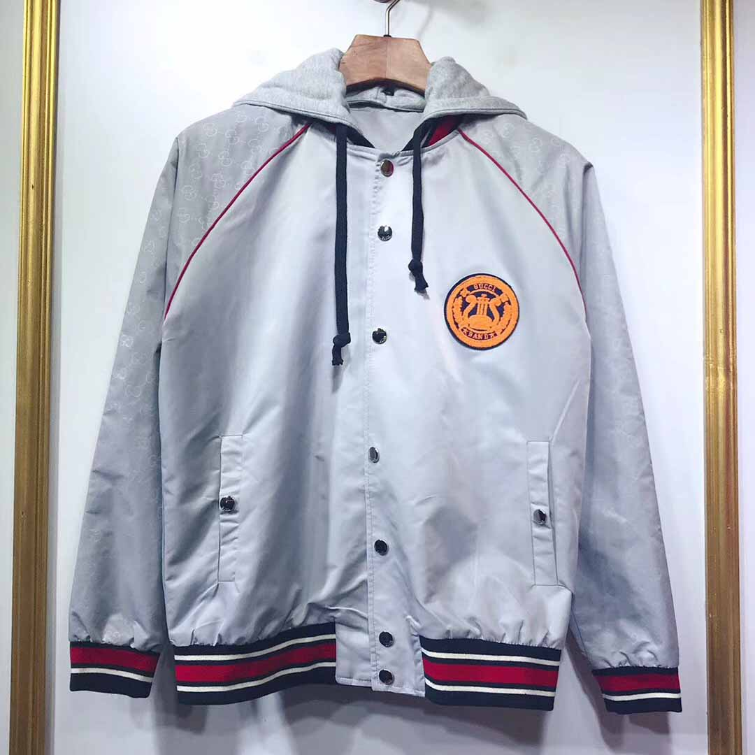 Gucci Acetate Bomber Jacket with Lyre Patch in Grey - FashionBeast