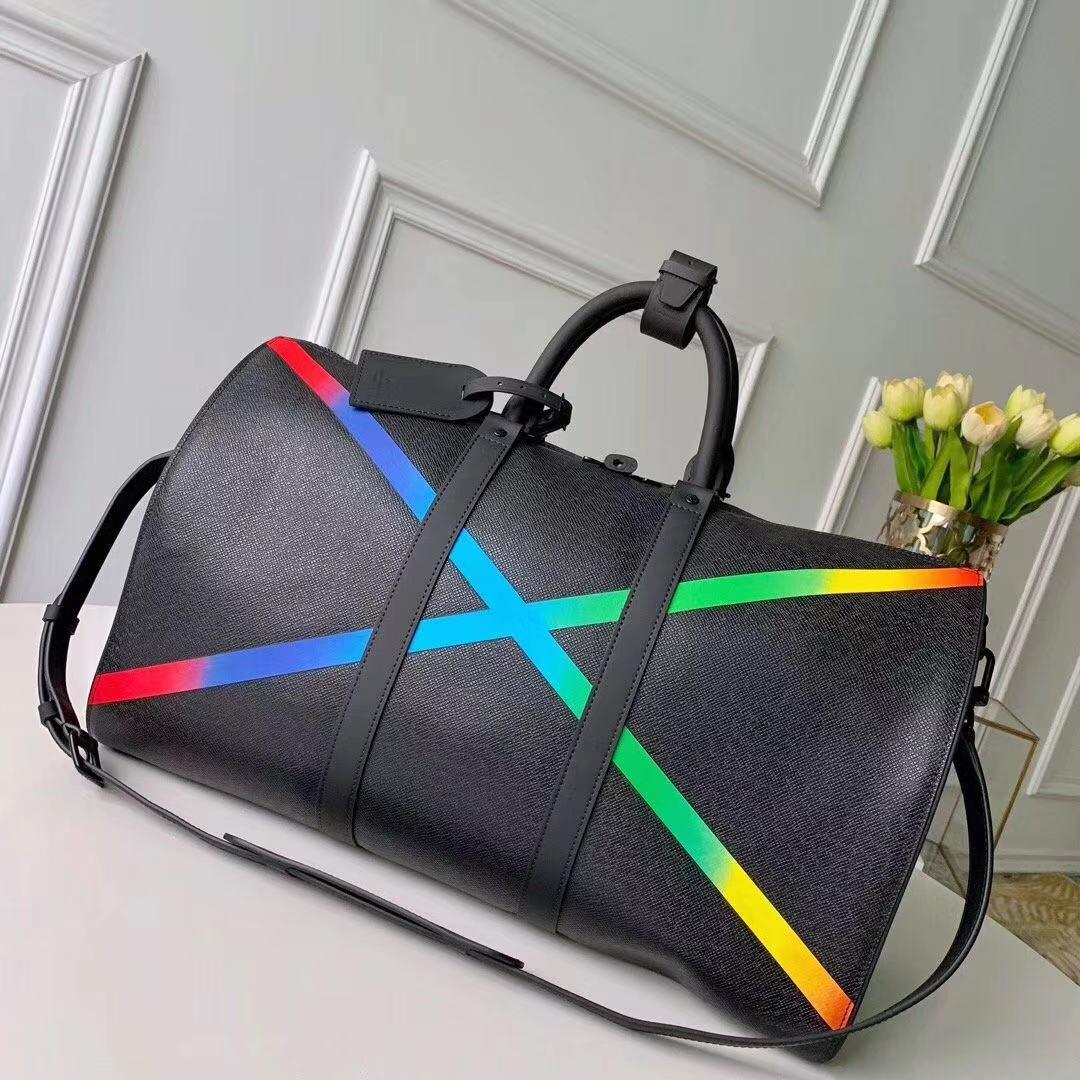 "Louis Vuitton Keepall Bandouliere 50 with Rainbow Colors ""X""  - FashionBeast"