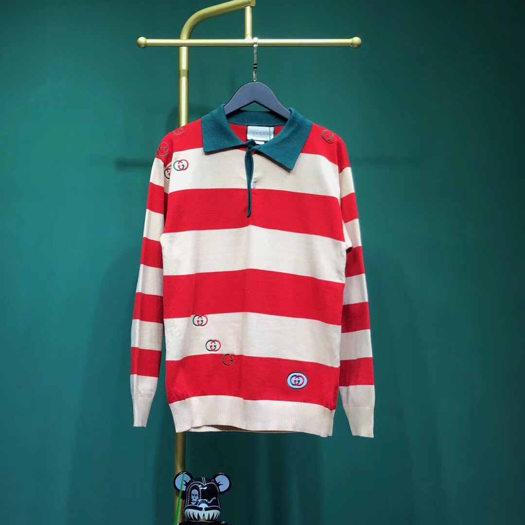 Gucci Embroidered Striped Knit Polo - FashionBeast