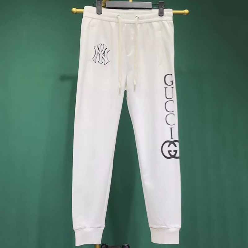 White Jogging Pants with Embroidered Logo NY Yankees™ Patch - FashionBeast