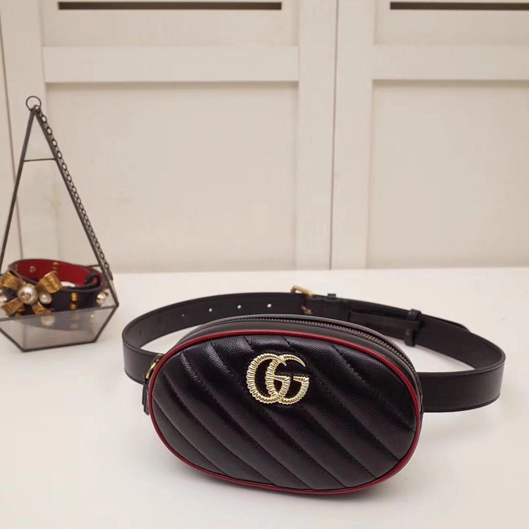 GG Marmont Matelasse Leather Black Belt Bag - FashionBeast