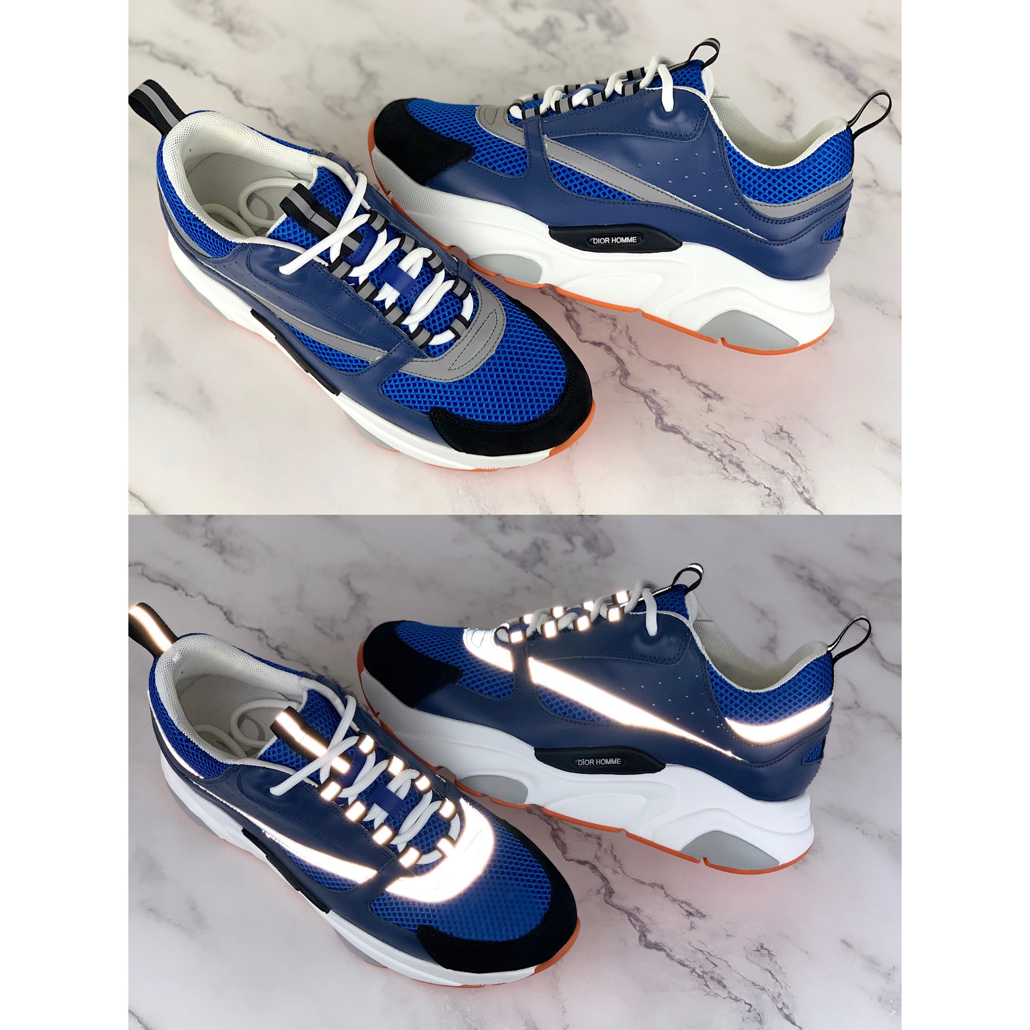 Dior Canvas and Calfskin Sneakers in Blue - FashionBeast