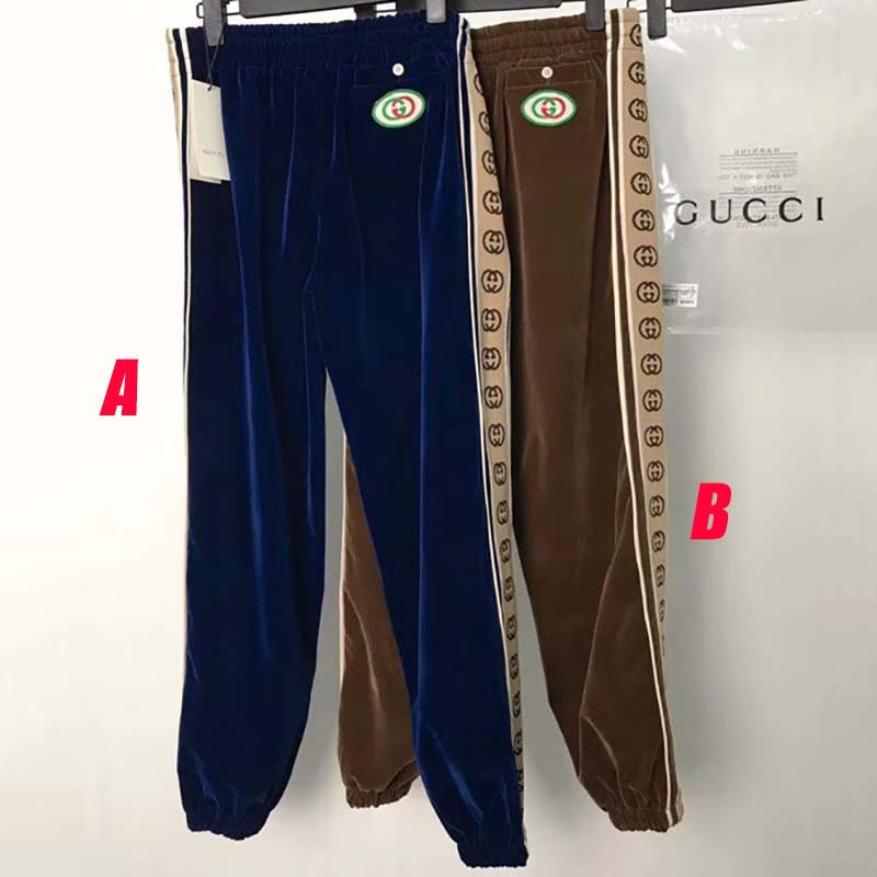 Gucci Velvet Pants with Side Interlocking G Jacquard Stripe - FashionBeast