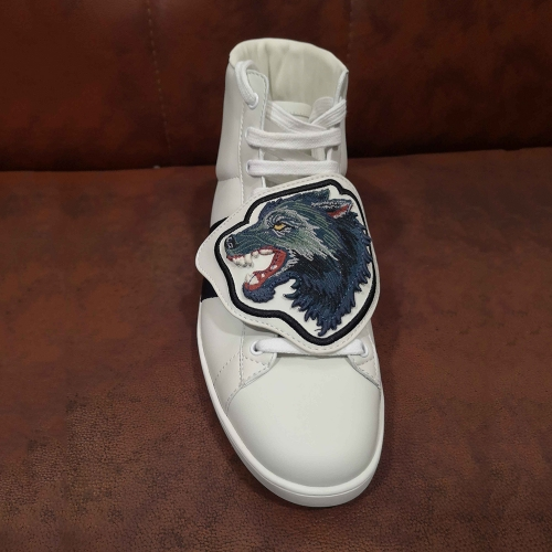 GUCCI New Ace Wolf Patch Leather Sneakers in White - FashionBeast
