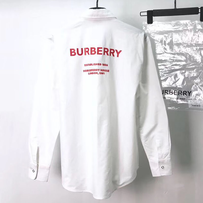 Burberry Back Red Logo Detail White Shirt - FashionBeast