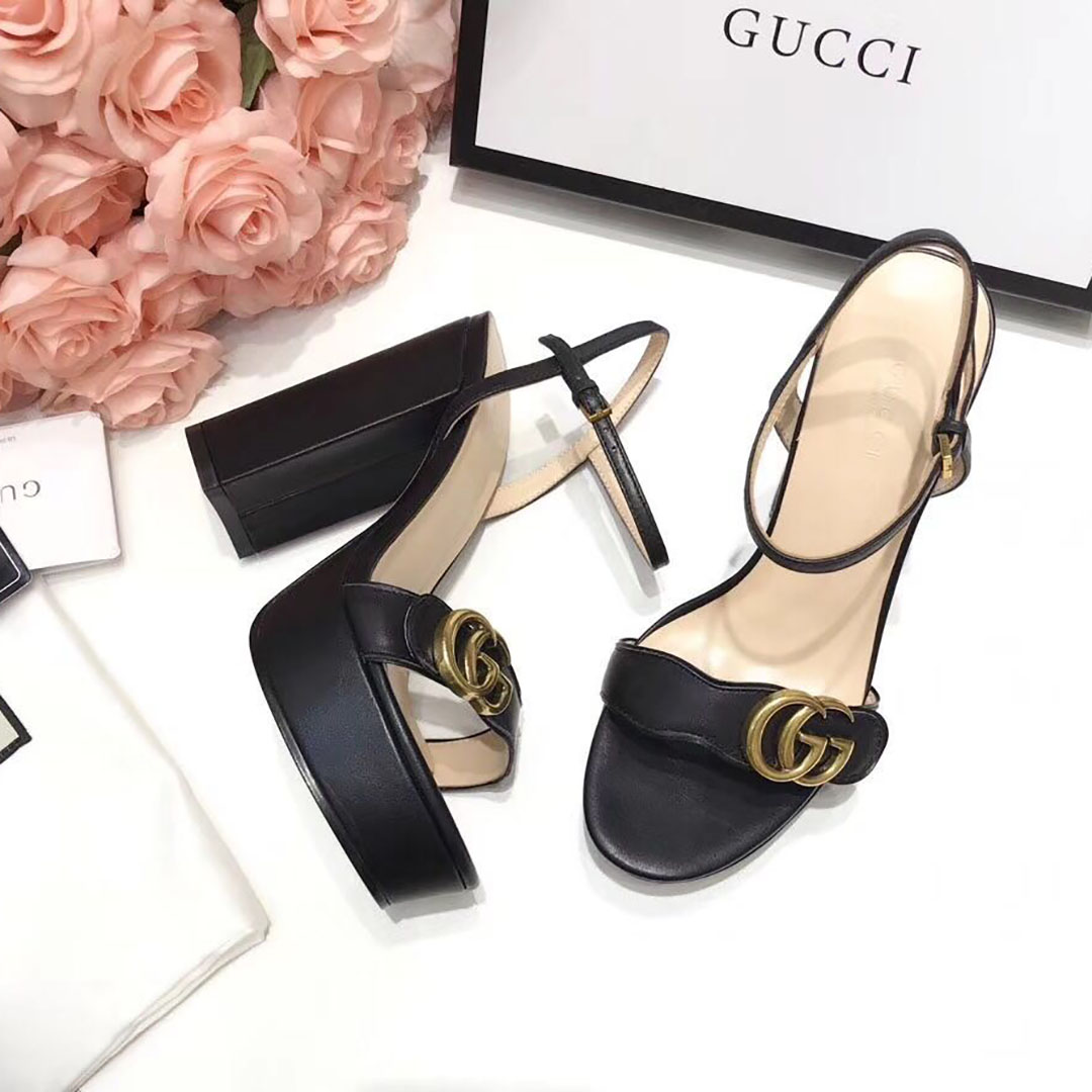 Gucci Double G High Heel Leather Sandals - FashionBeast