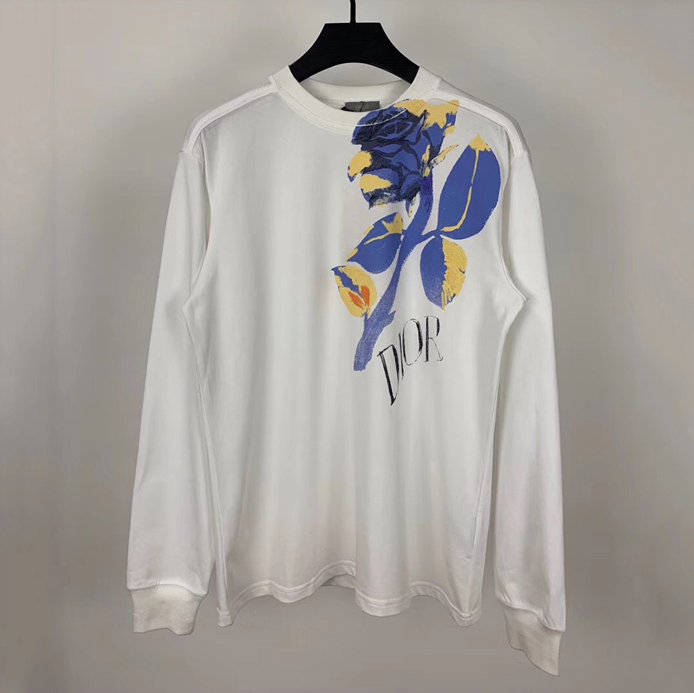 Dior And Alex Foxton Rose Long Sleeve Compact Cotton T-shirt - FashionBeast