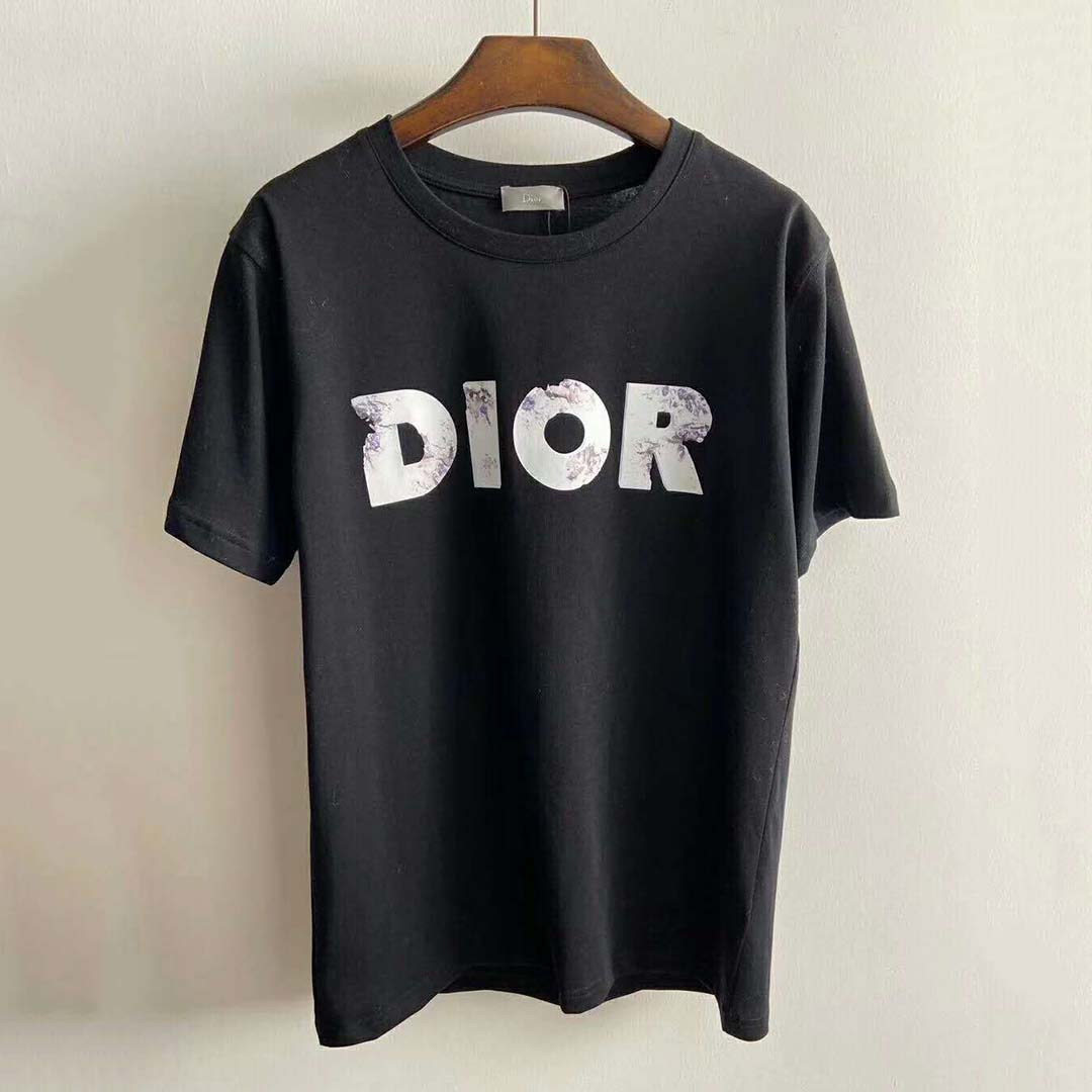 Black Compact T-shirt with DIOR AND DANIEL ARSHAM Eroded Logo 3D Print - FashionBeast