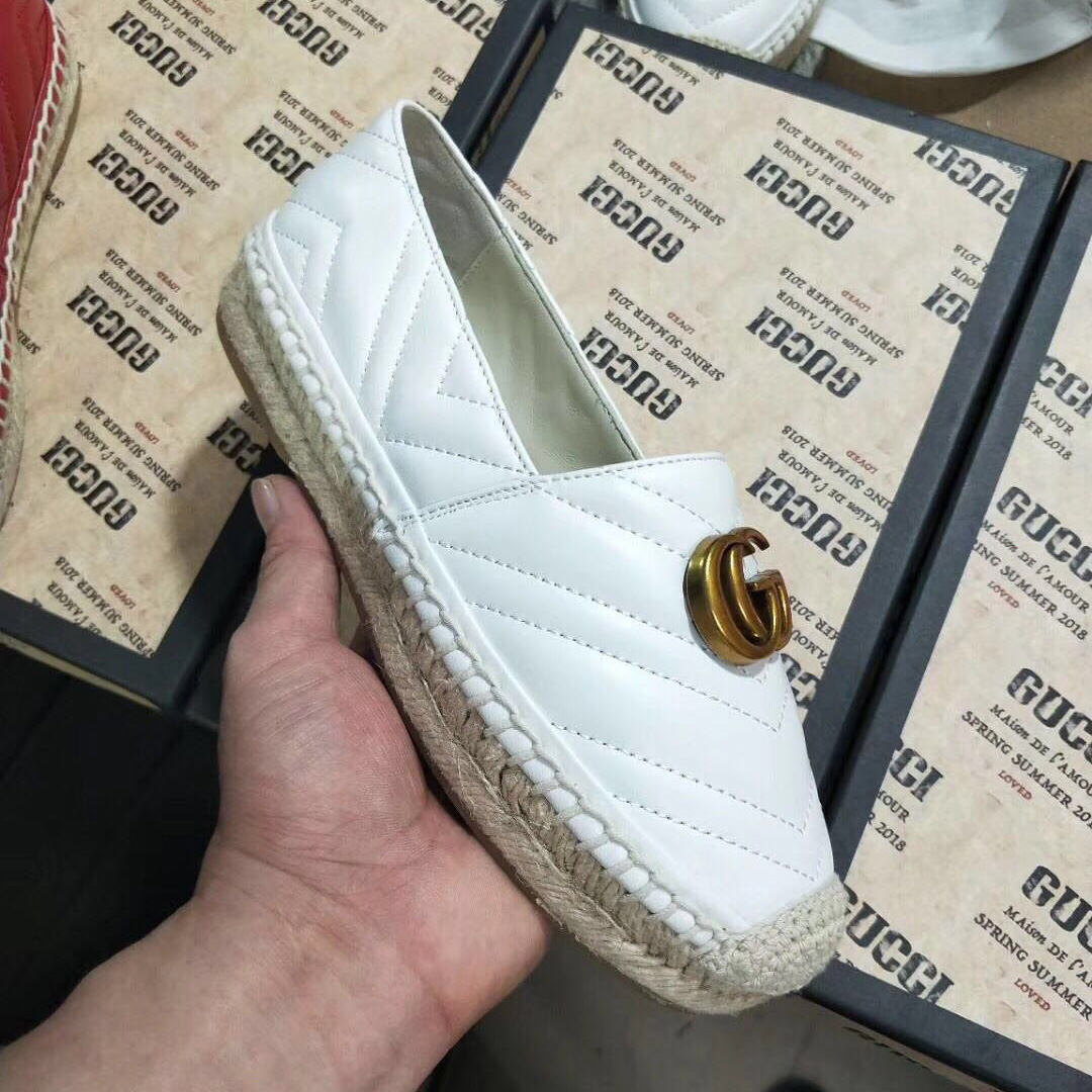 White Leather Espadrille with Double G - FashionBeast