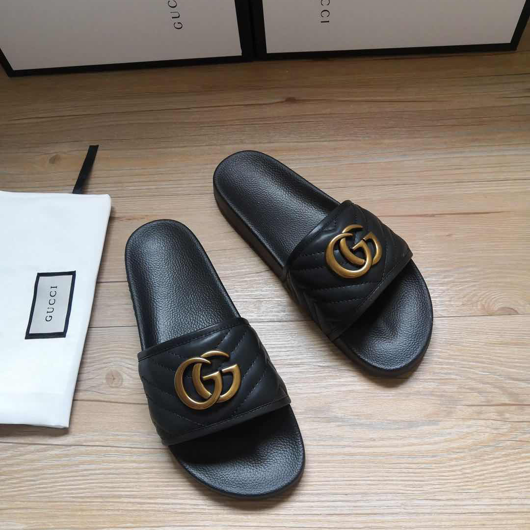 Gucci Black Double G Slippers - FashionBeast