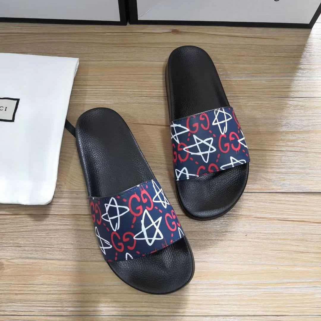 Gucci Double G Star Printed Slippers - FashionBeast