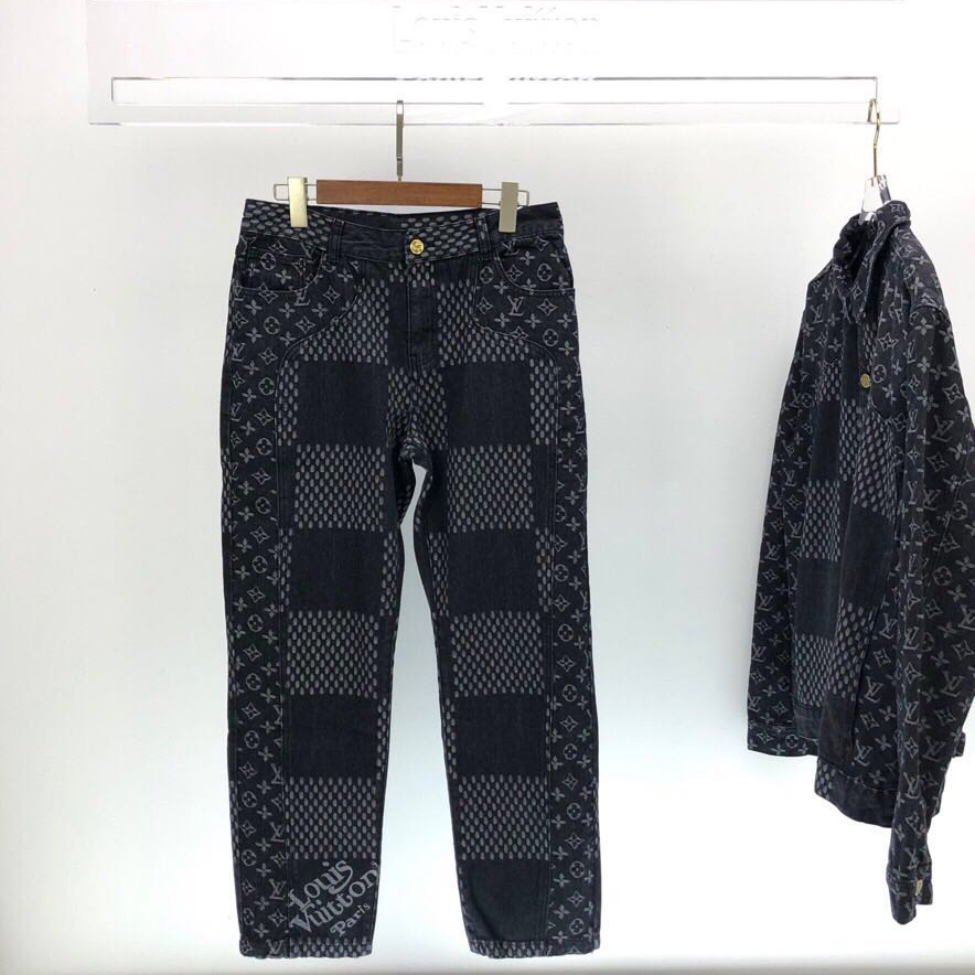 Giant Damier Waves Monogram Denim Jeans - FashionBeast