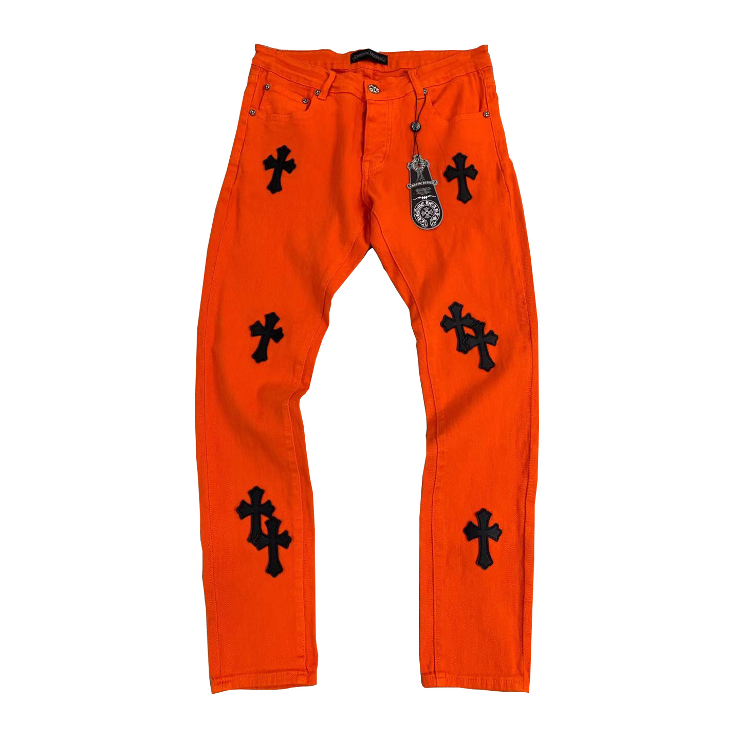 Cross Patch Denim Pants in Red - FashionBeast