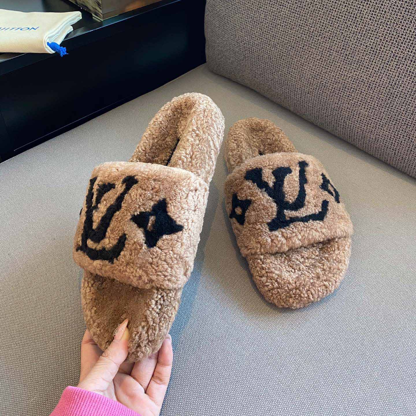 Monogram Shearling Slippers - FashionBeast