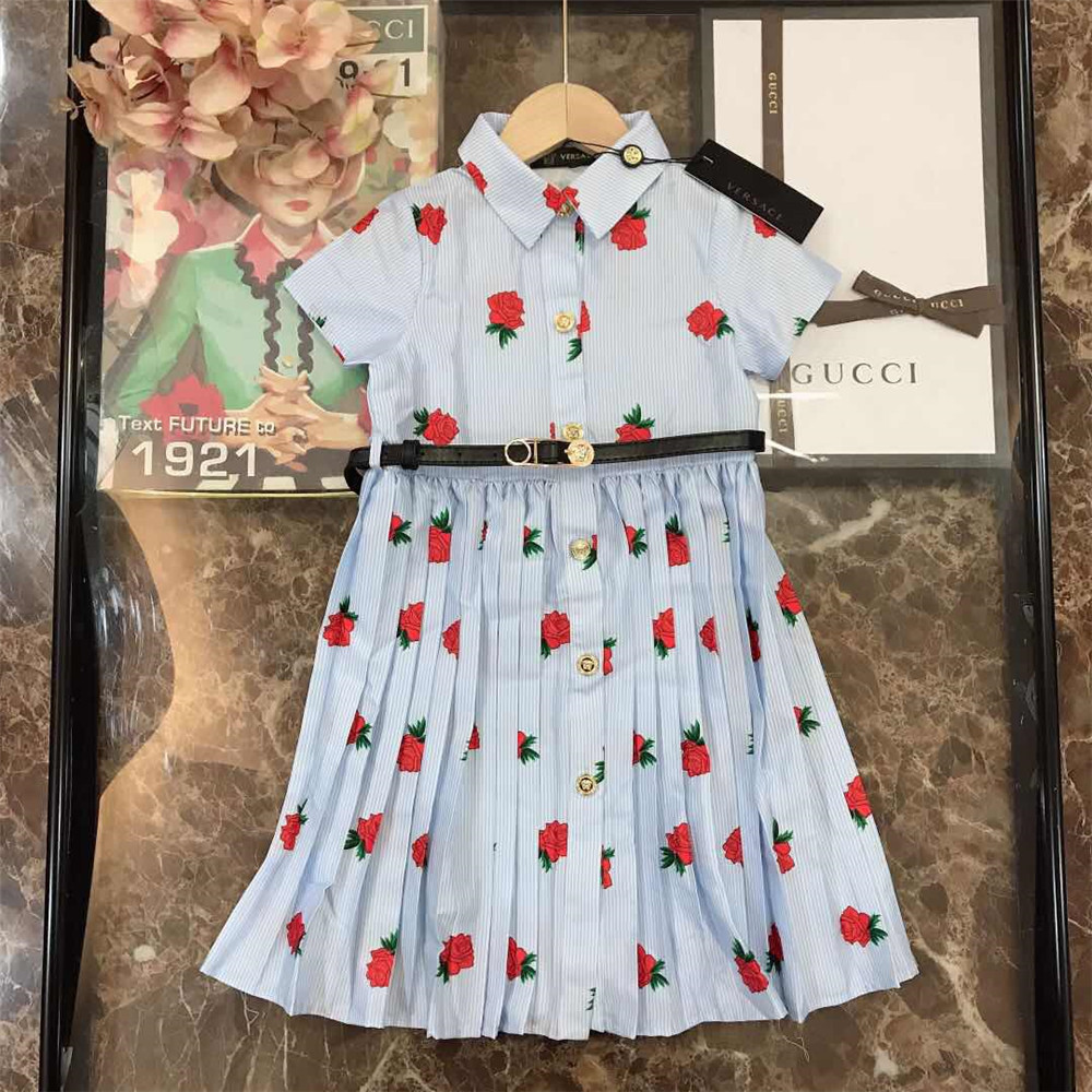 Blue Strawberry Print Kids Dress - FashionBeast