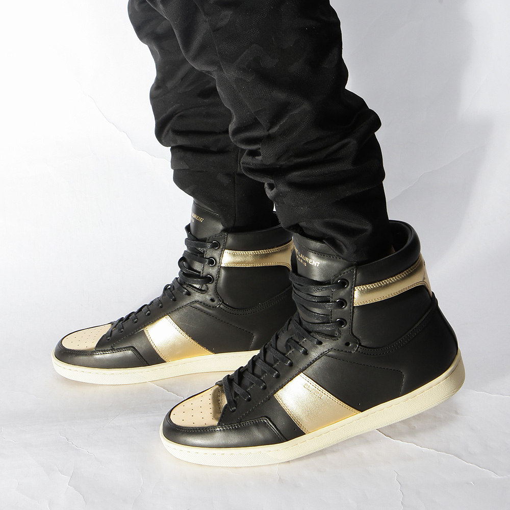 Saint Laurent Signature Court Classic High Top In Black Leather And Gold Metallic Leather Men Sneaker - FashionBeast