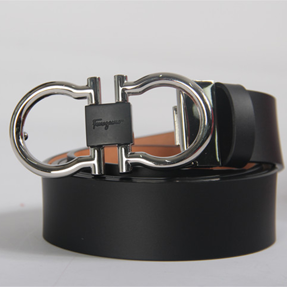 Salvatore Reversible and Adjustable Belt Black leather Grey Buckle - FashionBeast