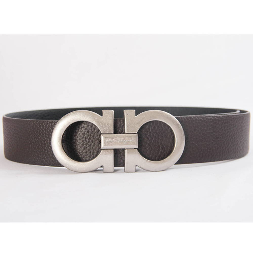 Reversible and Adustable Belt Silver Big Buckle Brown Red - FashionBeast