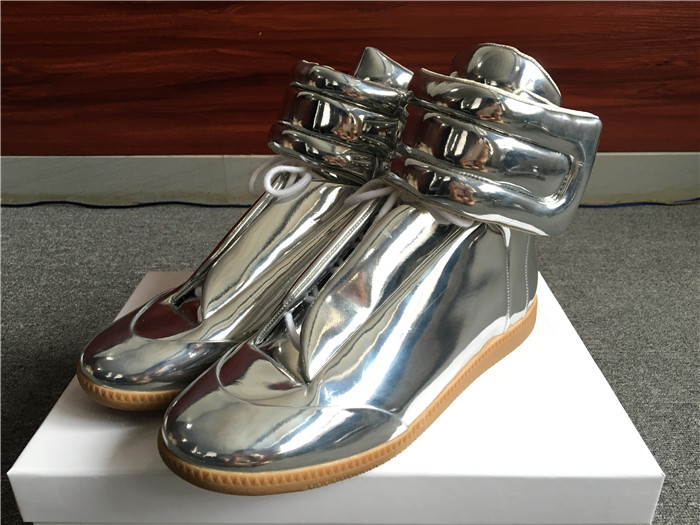Limited Version Maison Margiela Silver Patent Leather High-Top Sneakers - FashionBeast