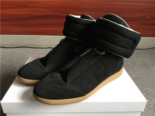 Limited Version Maison Margiela Black Suede High-Top Sneakers with Khaki Rubber Outsole - FashionBeast