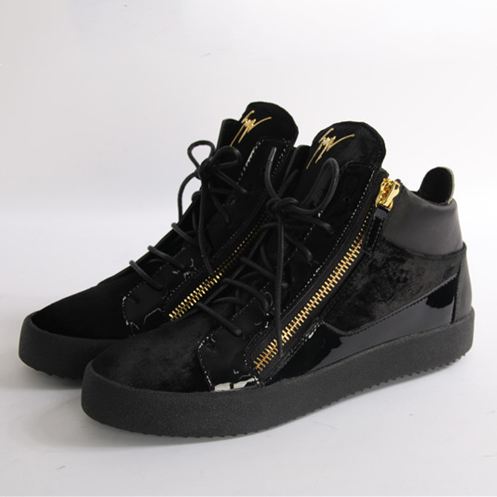 Giuseppe Zanotti Gold Zippers Black Velvet Middle Men Sneakers - FashionBeast