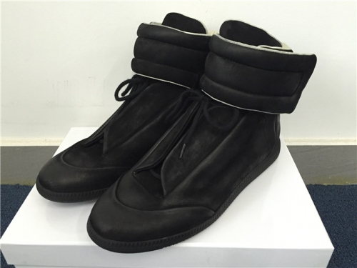 Limited Version Maison Margiela Black Suede High-Top Sneakers with Black Rubber Outsole - FashionBeast
