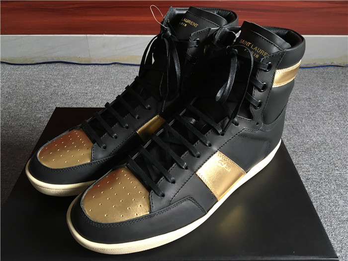 Limited Version Saint Laurent Black & Gold Leather High-Top Sneakers  - FashionBeast