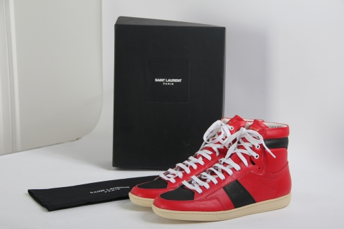 Limited Version Saint Laurent Red Leather High-Top Sneakers With  White Inner - FashionBeast