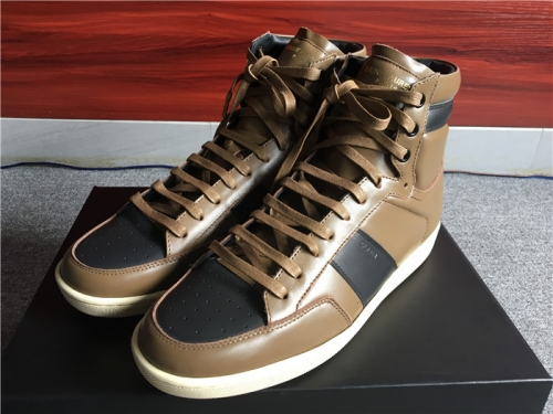 Limited Version Saint Laurent Light Brown Leather High-Top Sneakers  - FashionBeast