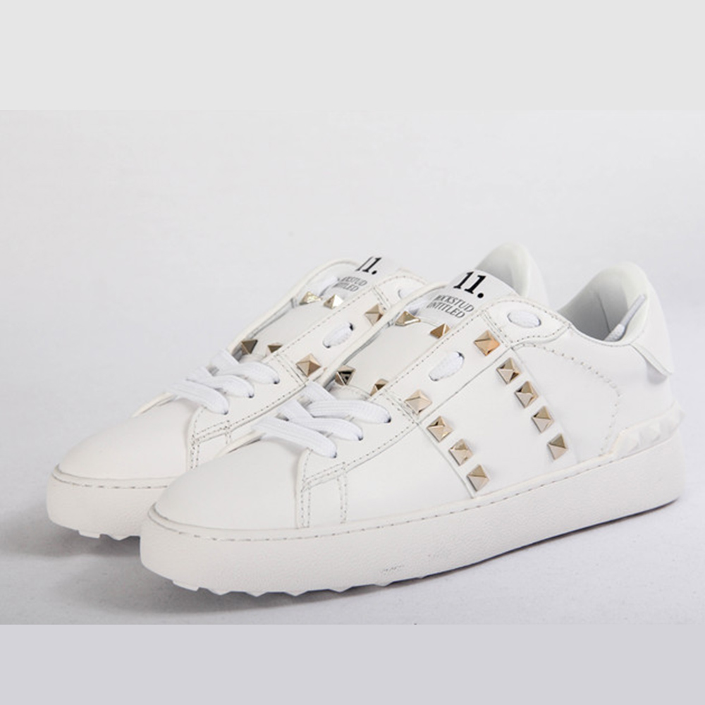 White Rockstud Untitled Leather Sneakers - FashionBeast