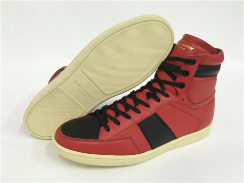Limited Version Saint Laurent Red Black Leather High Top Sneakers With Black Inner - FashionBeast
