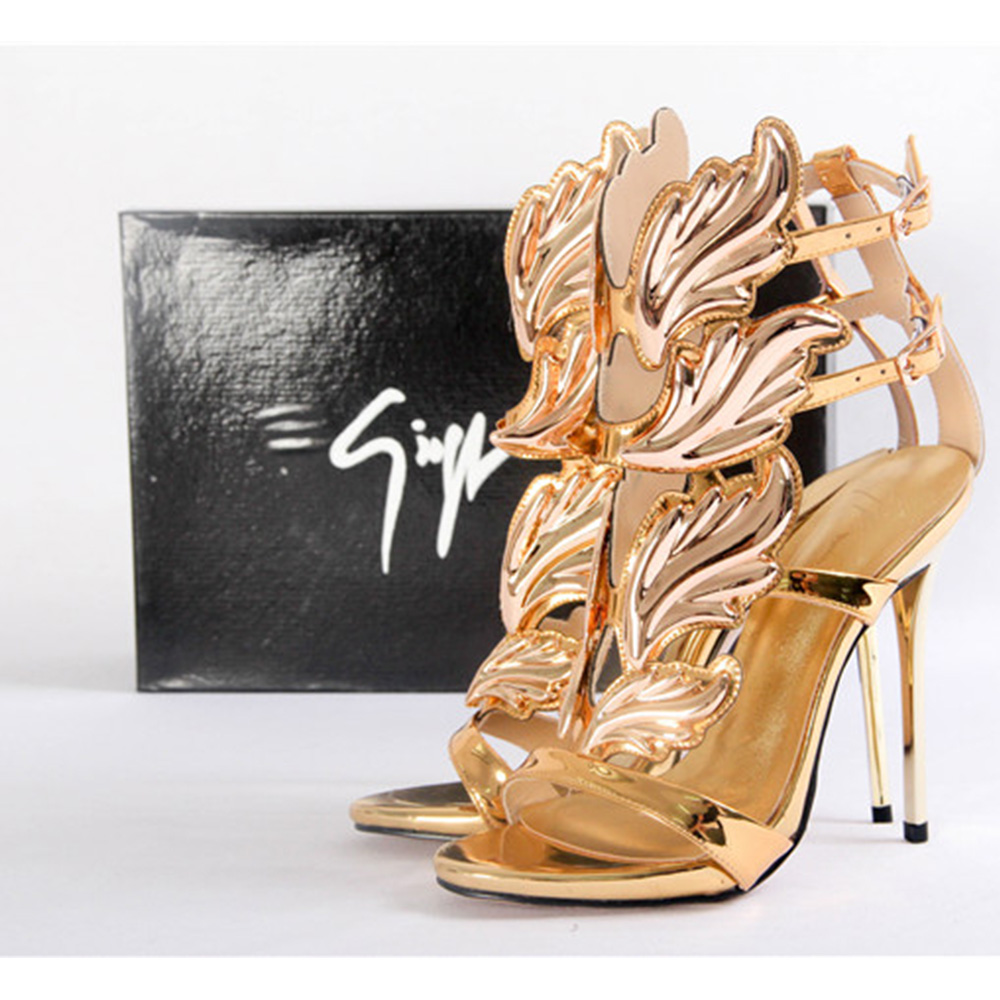 Giuseppe Zanotti Mirrored Gold Calfskin Sandal with Cruel Accessory - FashionBeast