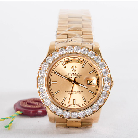 High Quality Day Date II President Yellow Gold Custom Diamond Watch - FashionBeast