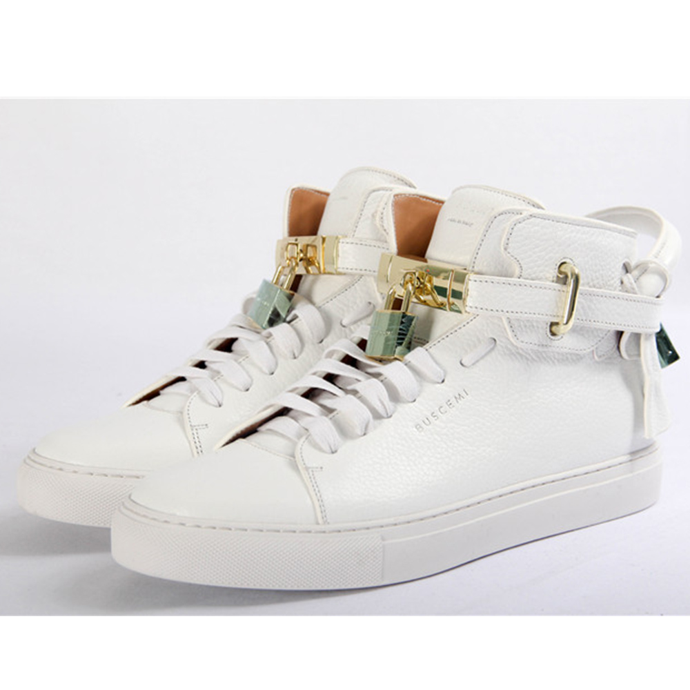 High-top Top Pebbled Leather White Sneaker - FashionBeast