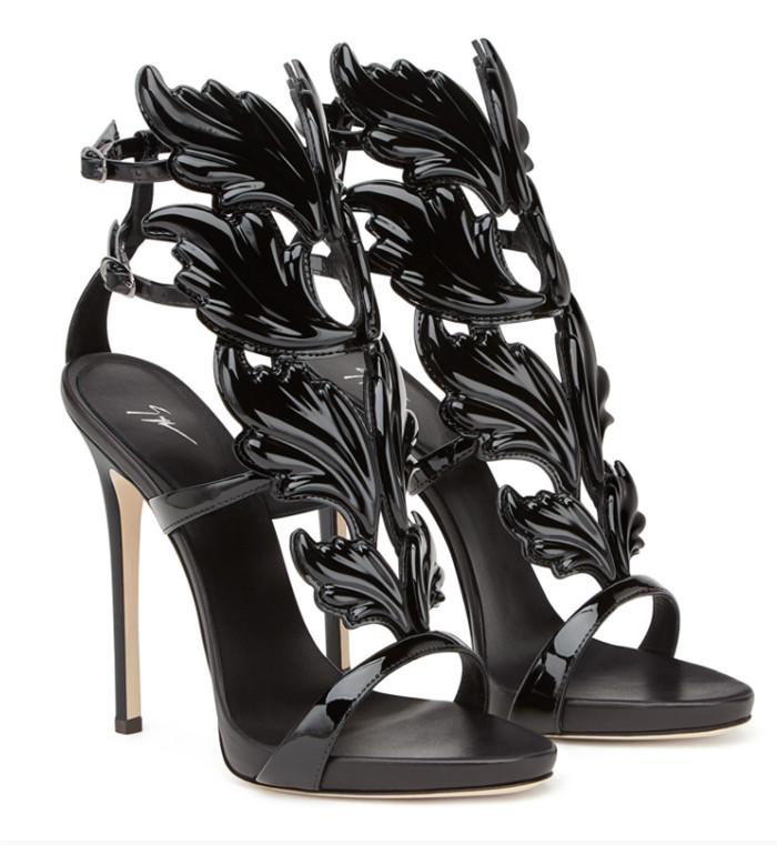 Giuseppe Zanotti Mirrored Black Calfskin Sandal with Cruel Accessory - FashionBeast