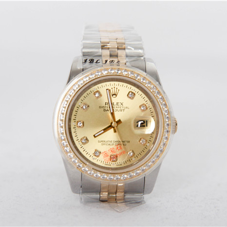 High Quality Datejust Stainless Steel and Jubille Bracelet Champagne Diamond Dial Full Diamond Bezel Watch - FashionBeast