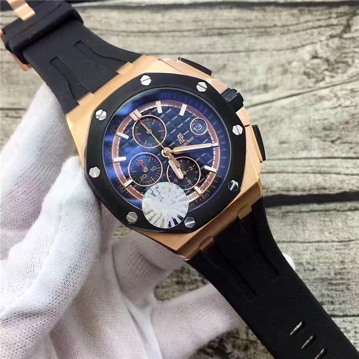 Audemars Piguet Royal Oak Chronograph Mens Black Strap Watch - FashionBeast