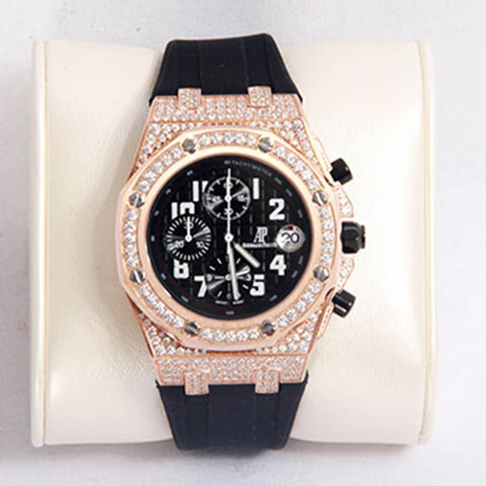 Audemars Piguet Royal Oak Offshore Jewelly Mens Black Strap Black Dial Watch - FashionBeast