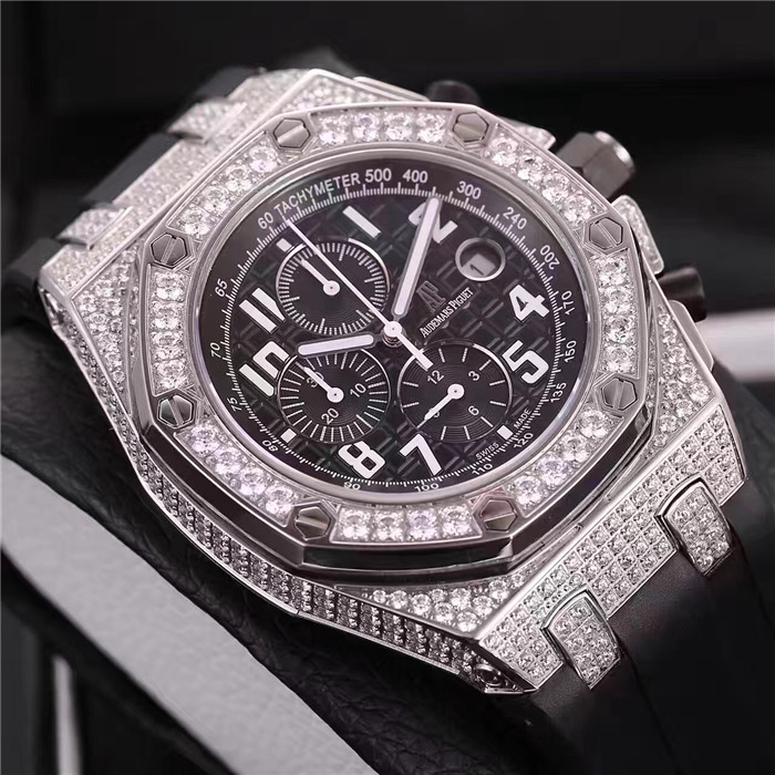 Audemars Piguet Royal Oak Offshore Jewelly Silver Strap Black Dial Watch for Men - FashionBeast