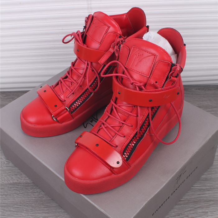 Giuseppe Zanotti Men Smooth Leather High Top Red Sneaker - FashionBeast