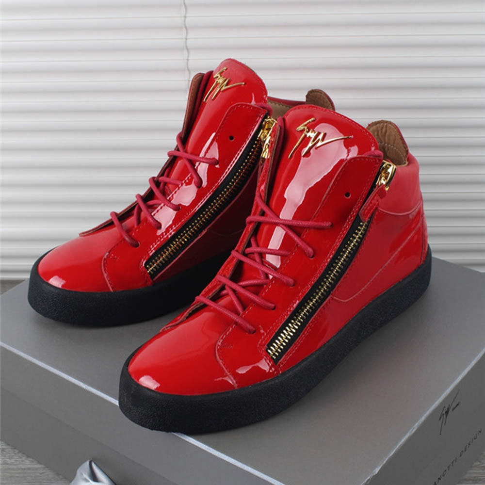 Giuseppe Zanotti Kriss Patent Leather High Top Red Sneakers - FashionBeast