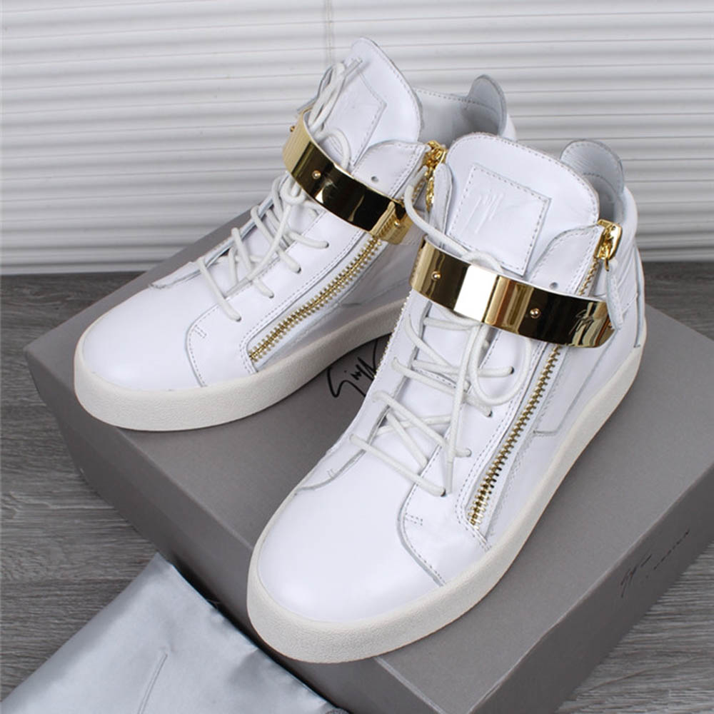 Giuseppe Zanotti White Leather Maylon High Top Sneakers - FashionBeast