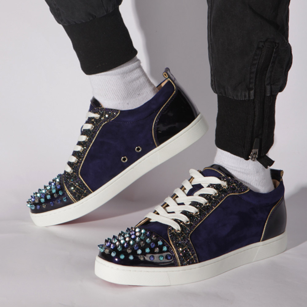 [Updated]Made-to-order! Limited Version Louis Junior Spikes Suede Aliglitter Blue - FashionBeast