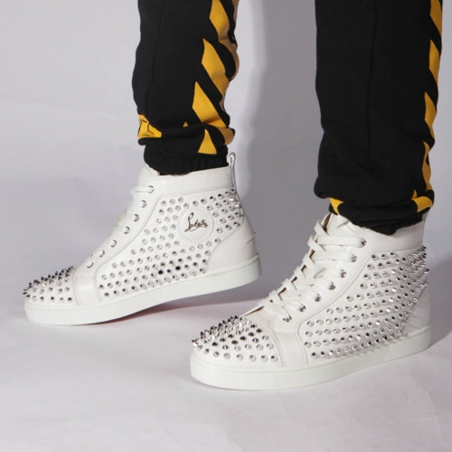 Made-to-order!!! Limited Version Christian Louboutin Louis Sliver Spikes Sneakers in White - FashionBeast
