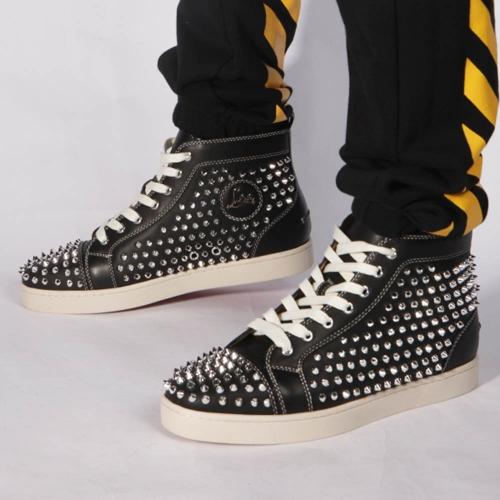 Made-to-order!!! Limited Version Christian Louboutin Louis Silver Spikes Sneakers Black - FashionBeast