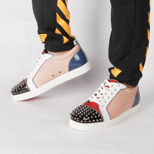 Made-to-order!!! Limited Version Christian Louboutin Louis Junior Spikes Orlato Men's Flat Version Multi Leather Sneaker - FashionBeast
